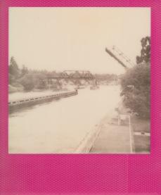 ballard locks and bridge in the distance