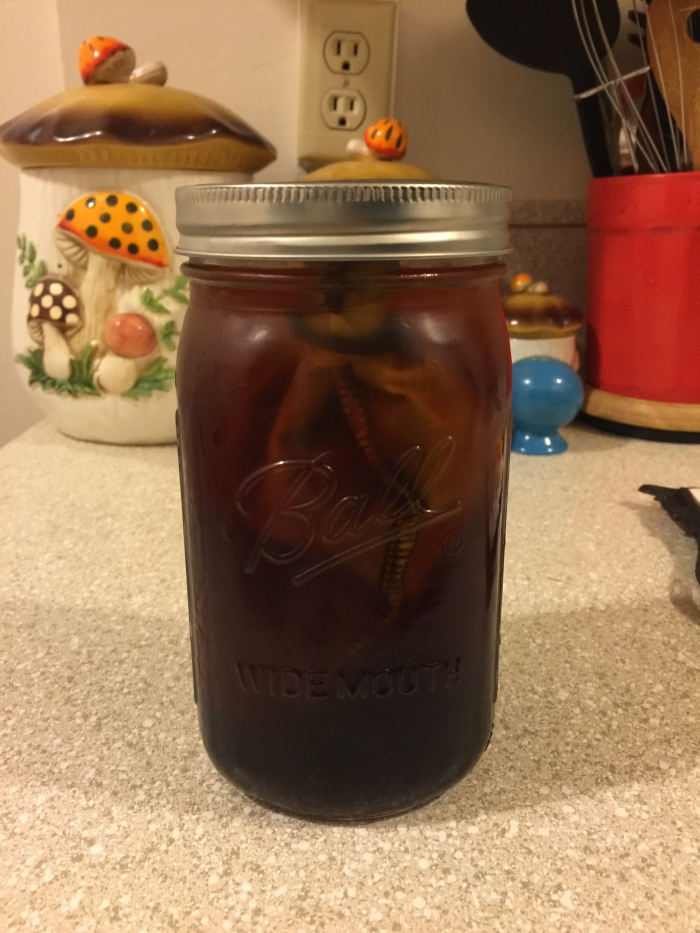 Finished cold brew coffee on my kitchen counter