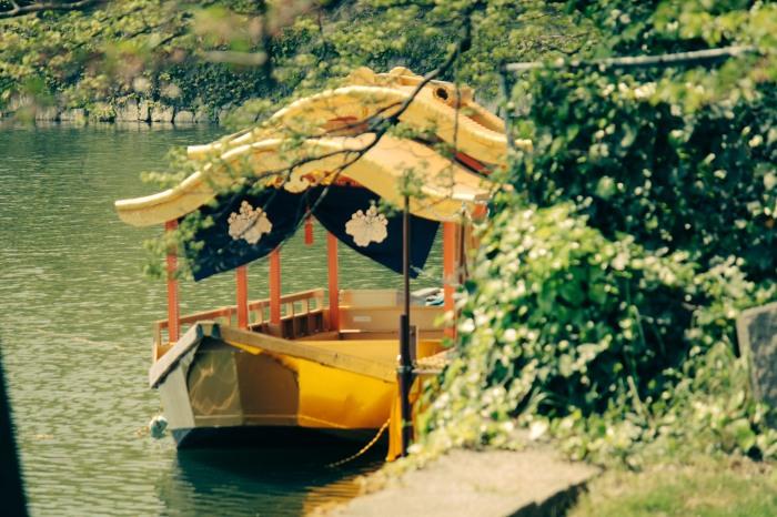 boat_outside_osaka_castle_japan_instant_film
