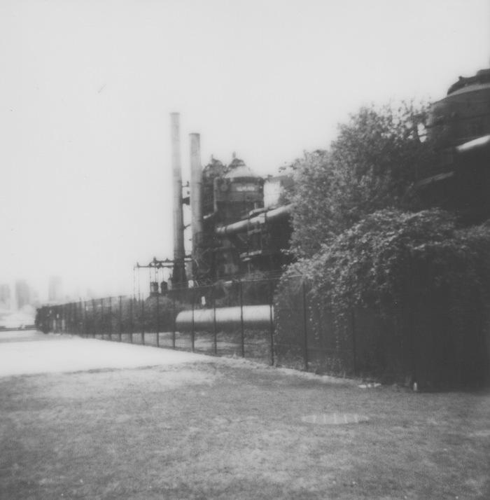 old gas plant factory at a public park